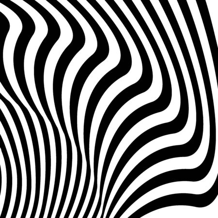 Abstract pattern of wavy black stripes. Distortion, analogue of optical illusion