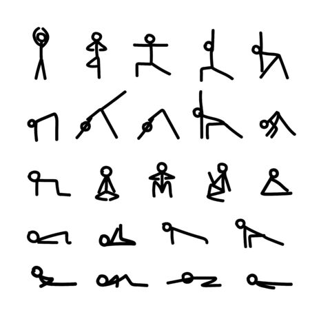 Man performs exercises, black lines. Training sports, yoga gymnastics