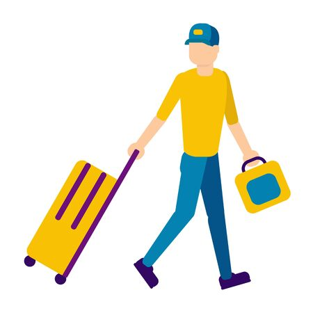 Man with suitcases, flat design. Man rolls baggage