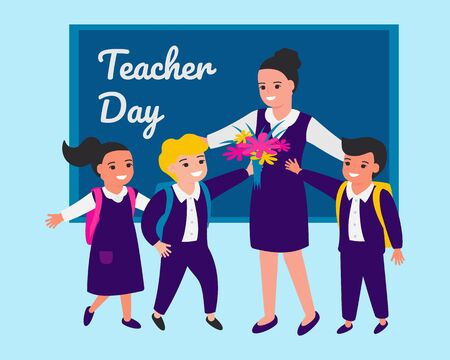Schoolchild congratulate teacher on occasion, give flowers. Teacher's Day. Back to school.