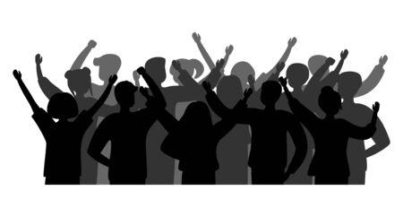 Siluetta nera gente allegra folla. Gruppo di persone uomini e donne. Festeggiamenti, concerti, applausi, persone con le mani in alto. Vettore Vettoriali