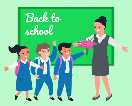 Schoolchild congratulate teacher on occasion, give flowers. Teachers Day. Back to school.