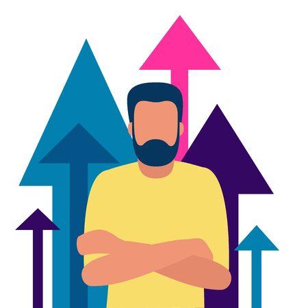 Successful businessman on background of upward arrows. Smart strategy, plan, contribution, pursuit of goals. Illustration