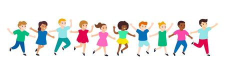 Group of cartoon happy multicultural children girl and boy joyfully run. Cute diverse kids.