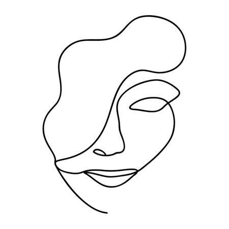 Woman abstract face, one line drawing. Hand drawn outline illustration. Continuous line. Portret female. Vector