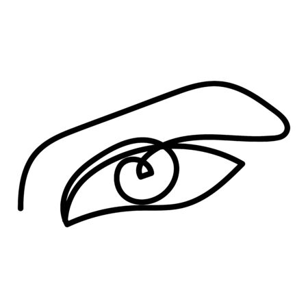 Woman abstract eye, one line drawing. Hand drawn outline illustration. Continuous line. Vector