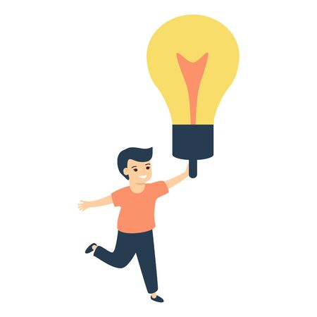Happy boy holding giant glowing electric light bulb. Concept of innovative idea, modern thinking. Vector in flat style