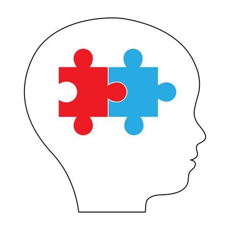 Silhouette of boy, kid, child, person with puzzle in head. Relationship of left and right hemisphere, thinking system. Good decision, idea, discovery, achievement, education concept Vector