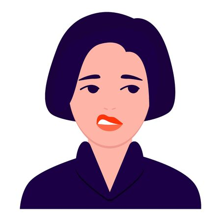 Sad, depressed young woman portrait. Experiencing negative emotions, skepticism, apathy, suffering, unhappy life Flat cartoon vector Illustration