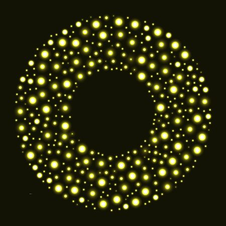 Circle with gold glitter particles on black background. Round frame. Vector