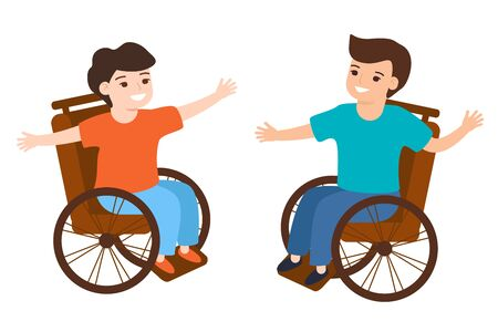 Smiling disabled kids boys sitting in wheelchair, communication, playing. Childrens friendship. Vector illustration