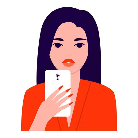 Bright beautiful young woman with mobile phone, front view. Photographing, reading, chatting. Smartphone and internet addiction. Vector flat illustration Ilustração