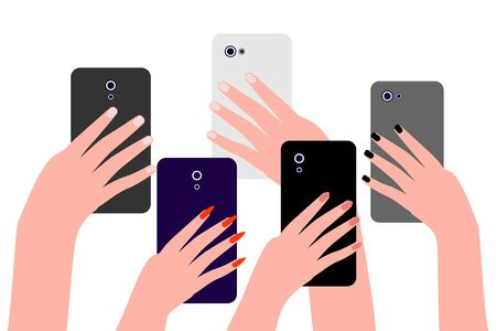 Hands of people with cell phones. Group of people men and women take photos, videos on smartphone. Record of an interesting, bright, shocking, memorable event, incident. Vector illustration Illustration