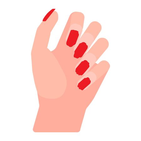 Female hand with bad manicure, broken uneven nails, sloppy hand care. Vector