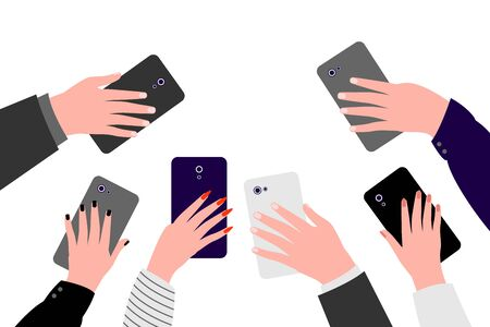 Hands of people with cell phones. Group of people men and women take photos, videos on smartphone. Record of an interesting, bright, shocking, memorable event, incident. Vector illustration Illusztráció