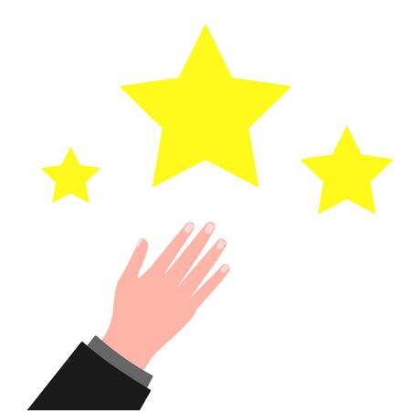 Male hand and stars. Achievement of goals, aspiration, expectation. Evaluation, feedback Vector illustration