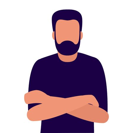 Young man with beard with folded arms, front view. Vector illustration isolated