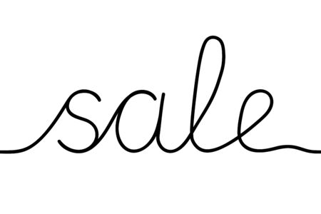Black drawn continuous line word Sale. Discounts on things, profitable purchases in stores, sale. Vector illustration Illustration