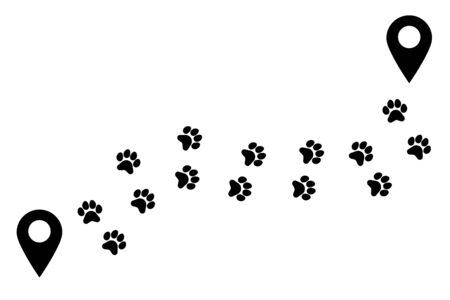 Paw pets way. Track animal, trail. Uneven trajectory with turns of footprints. Transition, route, distance from point to point. Vector illustration on white background Ilustração