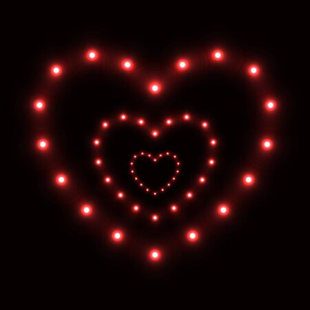 Series of red hearts from round lamps in perspective. Symbol love. Futuristic glowing electric graphic design. Vector illustration on dark background Ilustrace