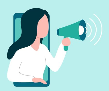 Abstract woman from smartphone holds speaker and says, calls, invites, notifies. Barker, blogger, influence. Welcome, attention, landmark hint Vector illustration on white background