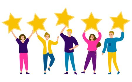 Group of young happy people are holding stars in their hands. Men and women striving for perfection, star of success, dreams, excellence in life. Rating five stars. Vector