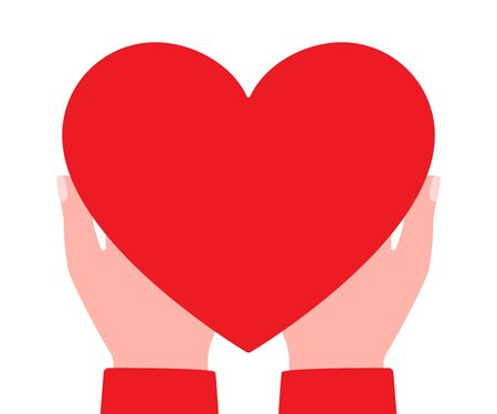Big red heart in hands of man. Gift, charity. Heart as symbol of love, appreciation, respect, care. Vector illustration on white background.
