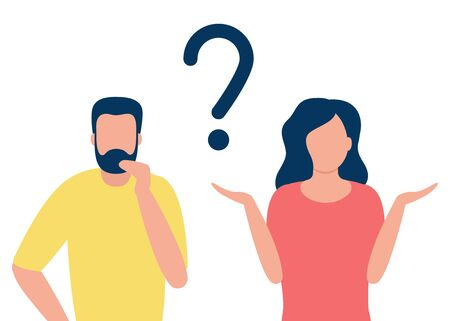 Thoughtful man and doubting woman with question mark. People solve problem, choose solution. Concept of dispute, conflict, deadlock. I do not know. Vector flat design illustration.