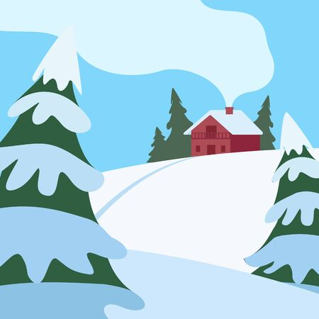 Winter hilly landscape with house and fir trees. Country life. Snow, cold, frost. Vector cartoon illustration.