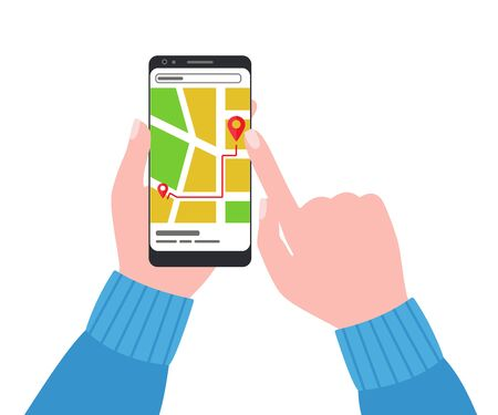Smartphone with city map in human hands. Road map, address, delivery, location. Direction of travel. Search for way through internet. Vector illustration