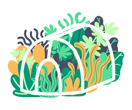 Growing flowers and plants in greenhouse. Spring garden, landscaping, early greenery. Protect plants from cold. Vector illustration.