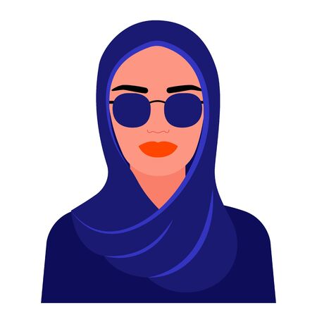Muslim woman in traditional dark hijab clothes and glasses. Arab girl full face. Vector illustration isolated