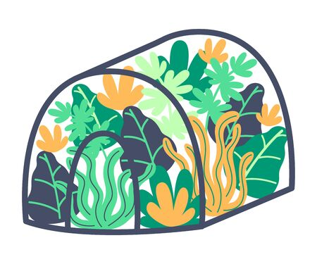 Growing flowers and plants in greenhouse. Spring garden, landscaping, early greenery. Protect plants from cold. Vector illustration. Vector Illustration