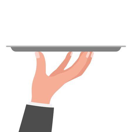 Waiter hand holding tray. Restaurant service. Vector illustration isolated on white background.