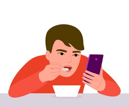 Boy eats with phone in his hands. Eating and browsing smartphone. Telephone addiction. Always together device. Vector illustration