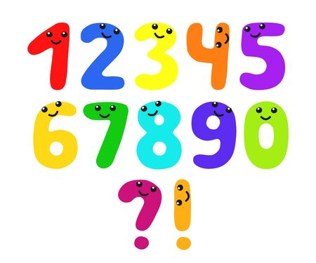 Set of funny numbers from 1 to 9 with faces. Smiling childrens school characters with eyes. Vector color cartoon figures isolated on white background