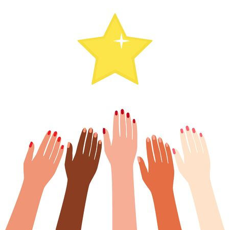 Multicultural hands reach rewards, reach for the stars. Motivation, aspiration, goal, competition, advantage. Illustration for advertising and promotion. Vector illustration isolated.