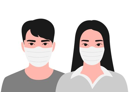 Young asian man and woman face in respiratory protective mask. Disease protection. Dangerous cases of flu. Medical health risk. Vector illustration Illustration