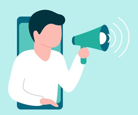 Abstract man from smartphone holds speaker and says, calls, invites, notifies. Male is barker, blogger, influence. Welcome, attention, landmark, hint. Vector illustration