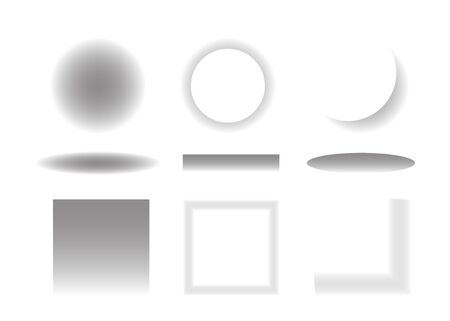 Set of round and square gradient shadow. Transparent shadow with soft edges. Vector isolated illustration.