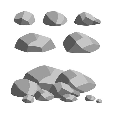 Set of gray stones. Separate cobblestones and pile of stones. Vector isolated illustration