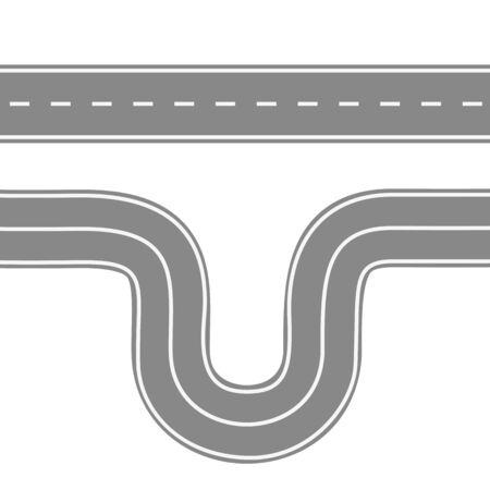 Straight and winding road for cars. Asphalt roads with markings. Highway or highway background. Vector illustration