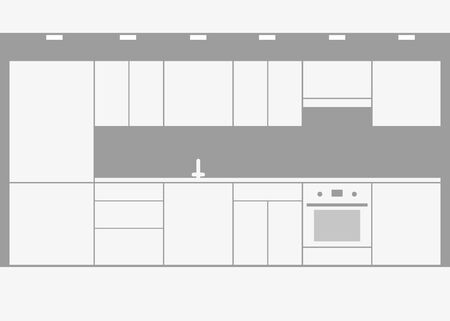 Interior of white modular kitchen in minimalist style. Monochrome kitchen, storage and cooking area. Vector illustration. Vectores