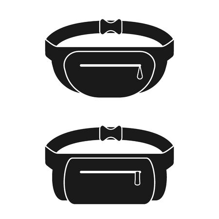 Black waist bag. Fanny pack for man and woman. Vector illustration.