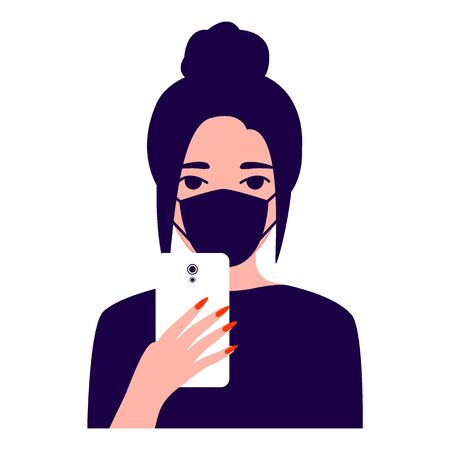 Beautiful young woman with mask with smartphone, front view. Protection against disease. Girl makes selfie. Photographing, reading, chatting. Vector flat illustration on white background