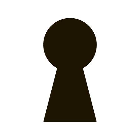 Black keyhole on white background. Mysterious door lock. Vector illustration