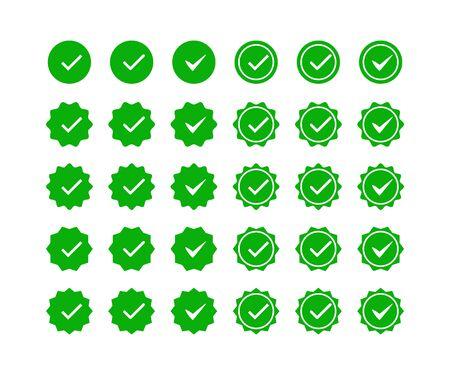 Jeu d'icônes de coche verte. Icônes de vérification de profil. Sélection, contrôle, vérification