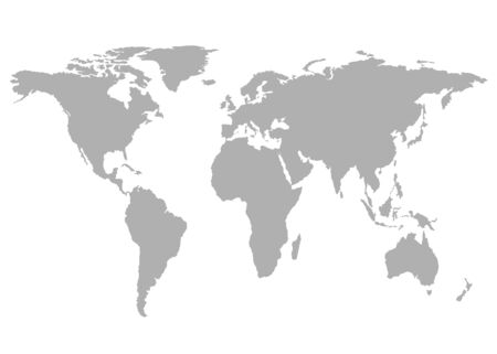 World map, grey template. Flat Earth, globe, worldmap. Travel worldwide concept. Vector isolated on white background. Ilustracje wektorowe