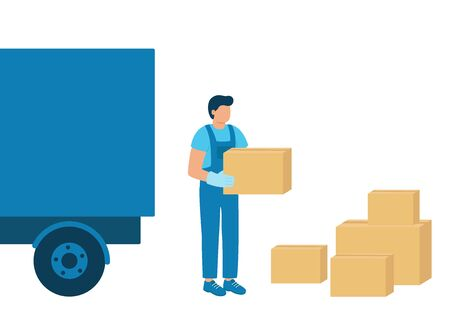 Loader man carries boxes of goods, unloading or loading truck. Work in logistics, shipping. Boxes of goods for import and export. Vector illustration. 向量圖像