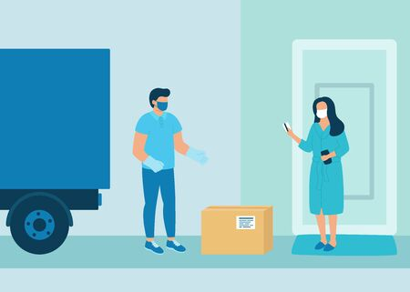 Safe contactless delivery of goods to buyer. Cargo delivery by car. Man courier delivered parcel box to woman customer. Coronavirus pandemic concept. Vector Ilustração